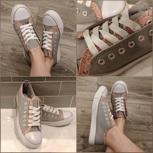 Shoes - 🎉Host Pick 🎉 Canvas Sneakers, Gray and Floral